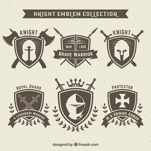 knight emblem design set vector free download