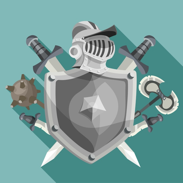 Knight Emblem Illustration Free Vector