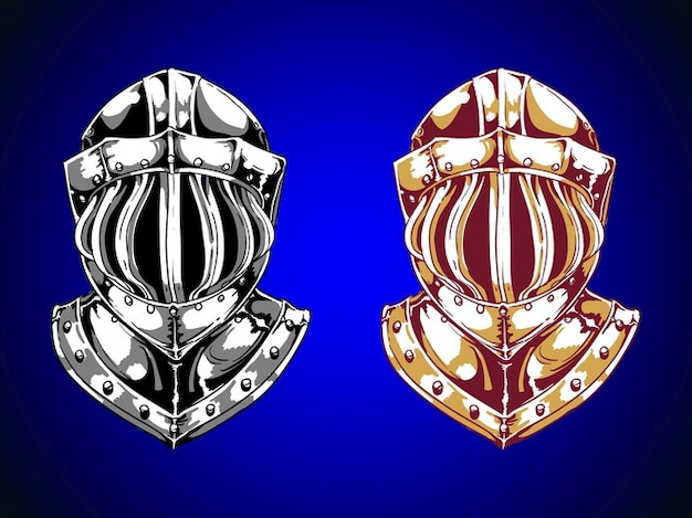Knight helmets head protection sketch Vector | Free Download