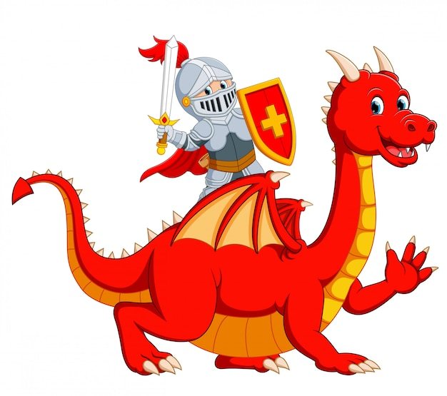 The knight holding sword on the big red dragon Premium Vector
