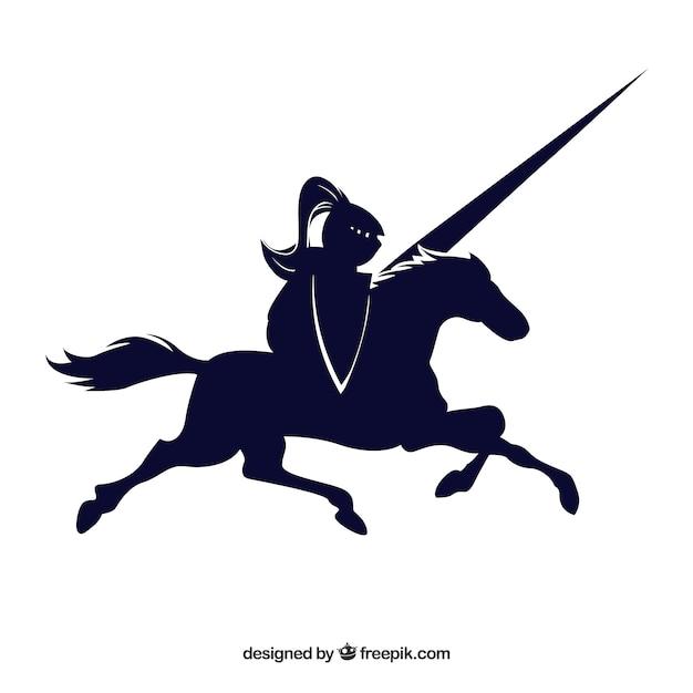Cavaliere cavallo nero disegnato vettore icona Vettore gratuito