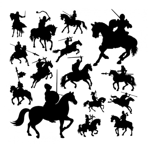 Premium Vector Knight On Horse Silhouettes