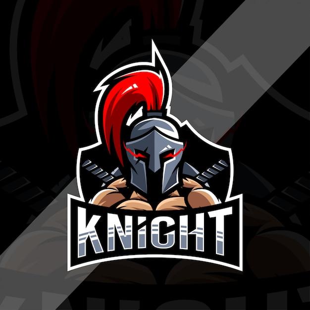 Рыцарь талисман логотип киберспорт дизайн Premium векторы