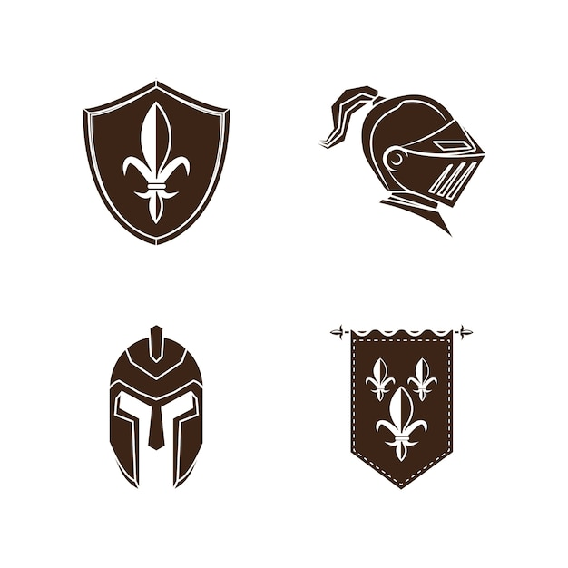 Knight medieval history vector icons set Premium Vector