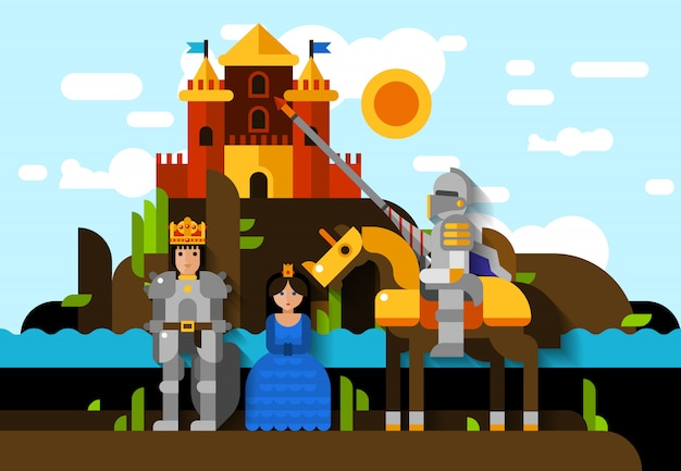 Knight poster Free Vector