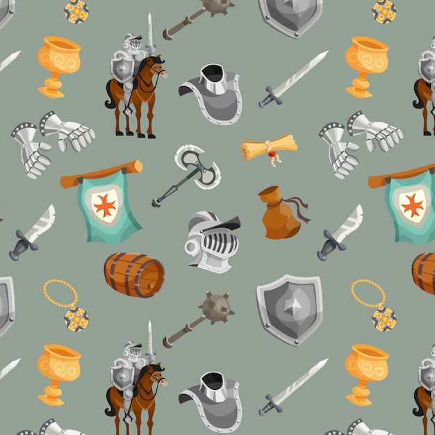 Knight seamless pattern Free Vector