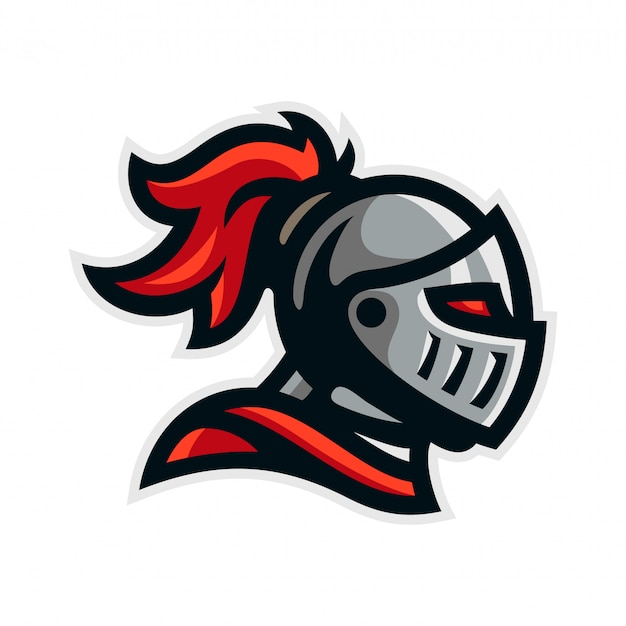 Knight warrior logo mascot template vector illustration Premium Vector