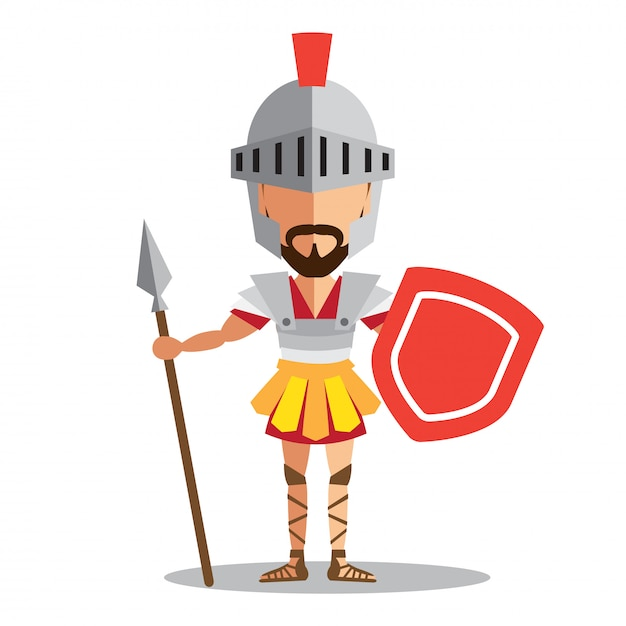 Knight wearing armor holding a shield and a sword Premium Vector