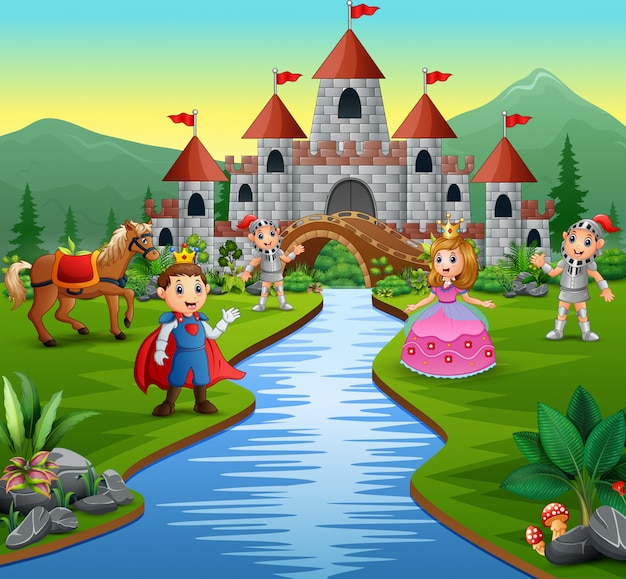 Knight with princess and prince in a castle landscape Premium Vector