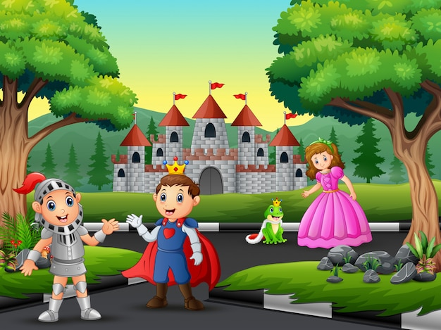 Knight with princess and prince on the road to the castle Premium Vector