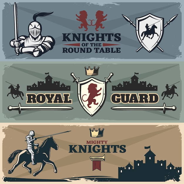 Набор баннеров рыцарей Бесплатные векторы