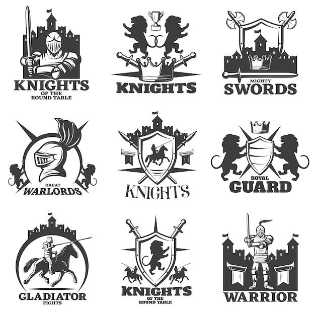 Рыцари черно белые эмблемы Бесплатные векторы