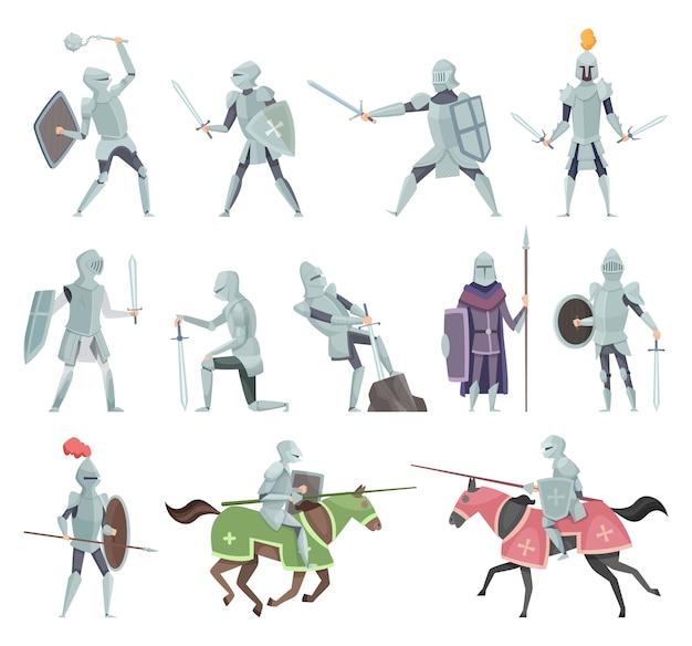 騎士。中世の戦闘鎧のキャラクターの十字軍の歴史的な戦闘マスコットのベクトル漫画。騎手と剣、メイスと盾のイラスト Premiumベクター