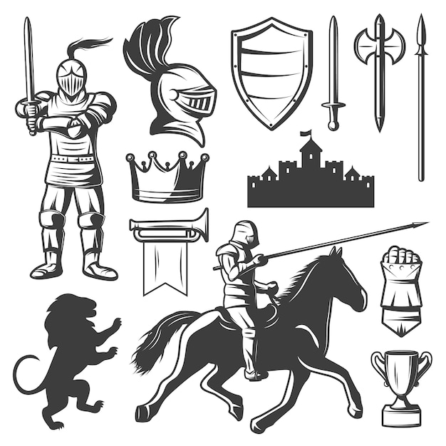 Knights monochrome elements set Free Vector