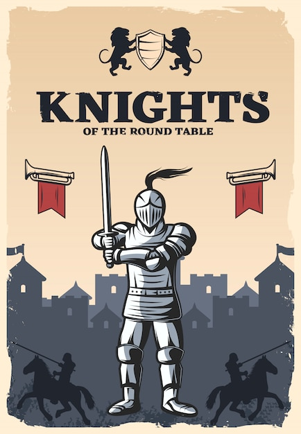 Knights of round table poster Free Vector