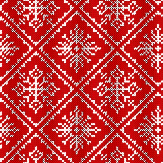 Вяжем рождественский узор. рождество бесшовных текстур. Premium векторы