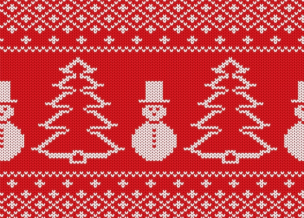 Knit christmas with snowmen and christmas trees. geometric knitted seamless pattern. Premium Vector