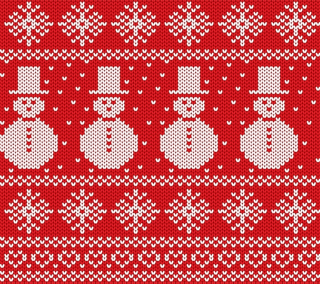 Knit christmas with snowmen and snowflakes. geometric knitted seamless pattern. Premium Vector