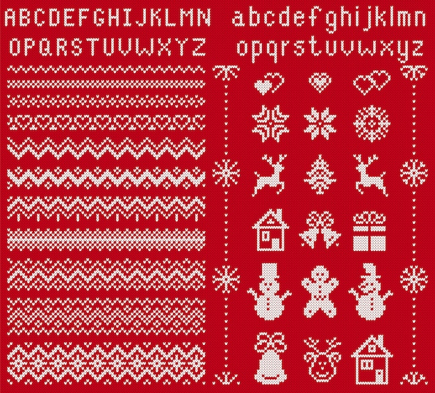니트 요소와 글꼴. . 크리스마스 원활한 테두리입니다. 스웨터 패턴. 유형, 눈송이, 사슴, 종, 나무, 눈사람, 선물 상자가있는 Fairisle 장식품. 니트 프린트. 크리스마스 그림. 레드 텍스처 프리미엄 벡터