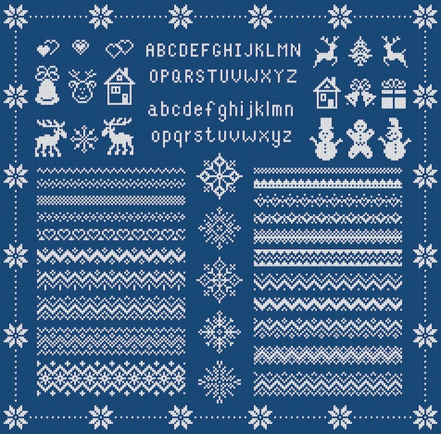 Knit font and xmas elements . christmas seamless border. . sweater pattern. fairisle ornament with type, snowflake, deer, bell, tree, snowman, house. knitted print. blue textured illustration Premium Vector