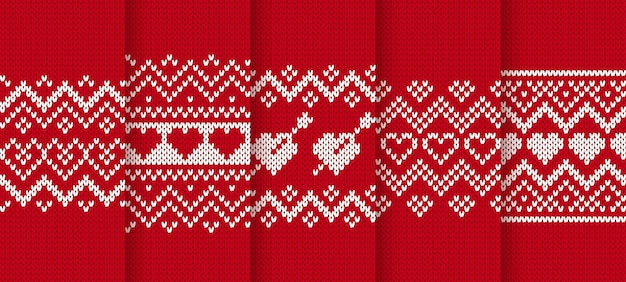 Knit red seamless pattern with hearts. Premium Vector