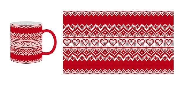 Knit valentine pattern. seamless texture with herats. Premium Vector