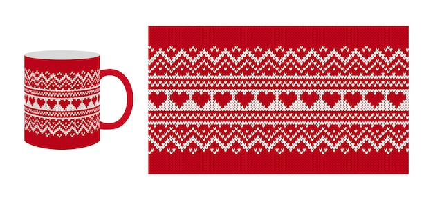 Knit valentine texture with herats. seamless pattern. christmas red knitted sweater. xmas print. Premium Vector