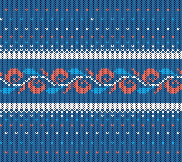Knitted blue texture. christmas seamless pattern. Premium Vector