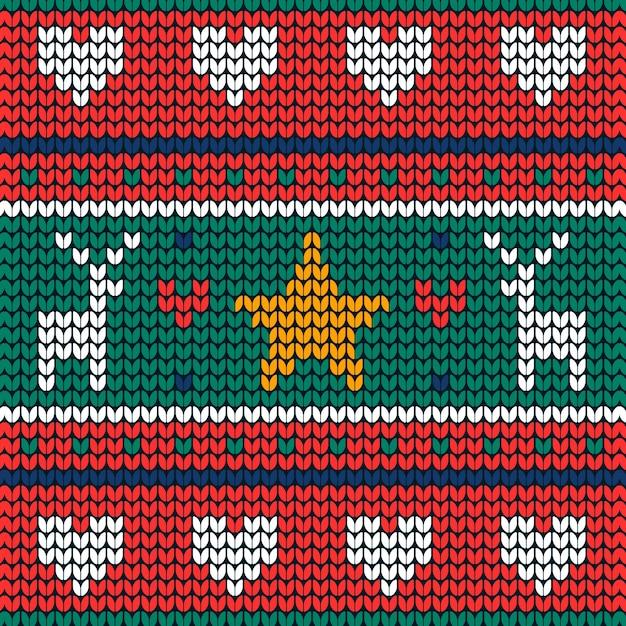 Вязаный рождественский узор фона Бесплатные векторы