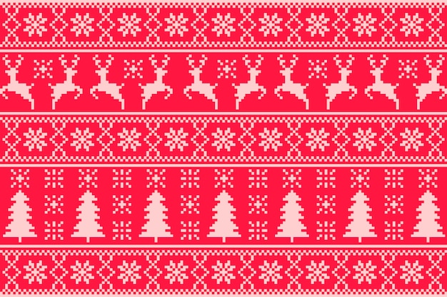 Knitted christmas pattern concept Free Vector