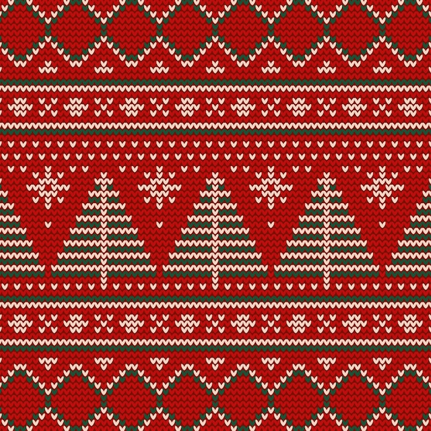 Knitted christmas pattern concept Premium Vector