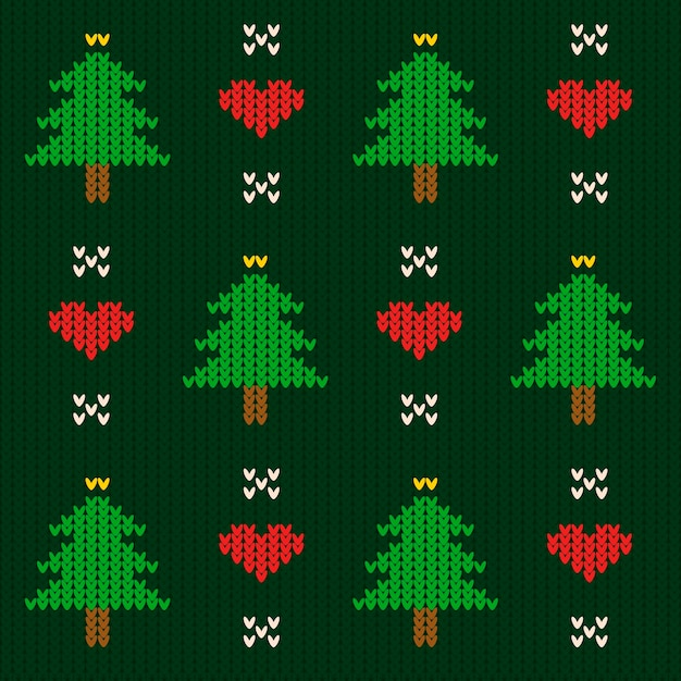 Knitted christmas pattern template Free Vector