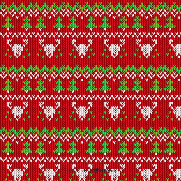 Knitted christmas pattern vintage style Free Vector