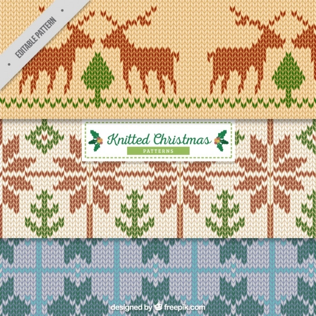 Knitted christmas pattern Vector Free Download