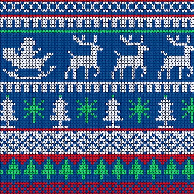 Вязаный рождественский узор Бесплатные векторы