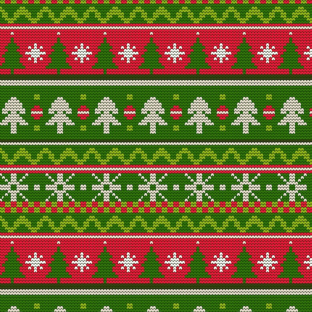 Knitted christmas pattern Free Vector