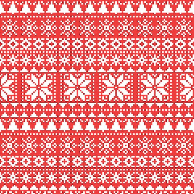 Motivo natalizio lavorato a maglia Vettore gratuito