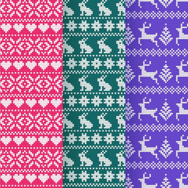 Knitted christmas pattern Premium Vector
