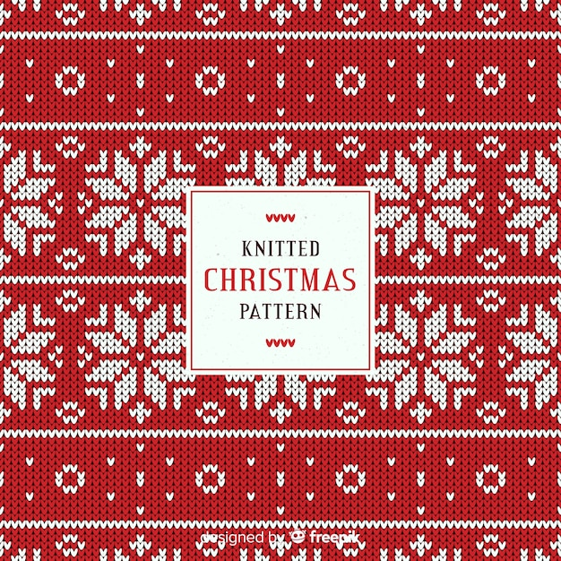 Knitted christmas snowflake pattern Free Vector