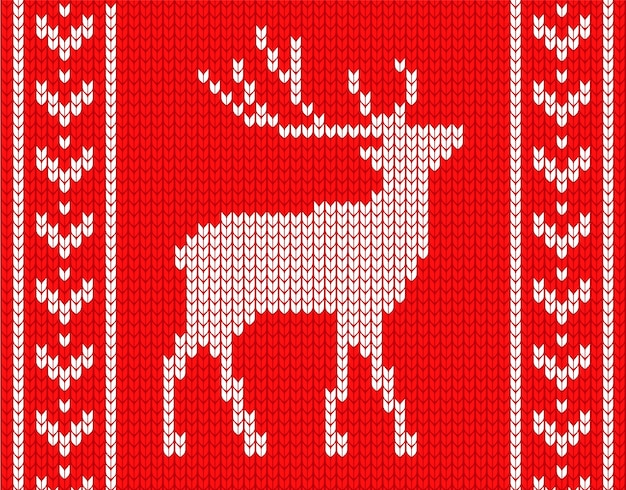 Knitted deer with patterns on the sides. in the style of knitted sweater. Premium Vector