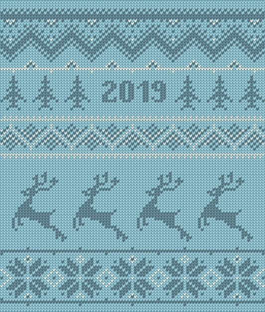 Knitted elements and borders for christmas winter design Premium Vector