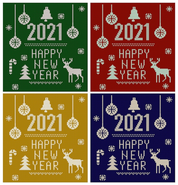 Knitted font, elements and borders for christmas, new year or winter Premium Vector