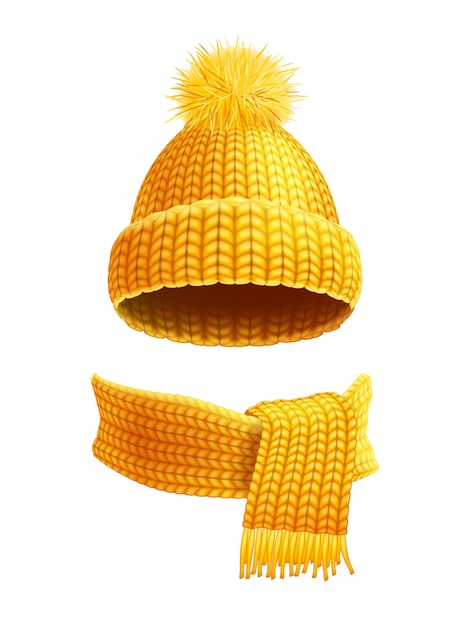 Knitted hat and scarf flat illustration Free Vector