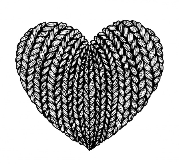 Knitted hearts. graphics. Premium Vector