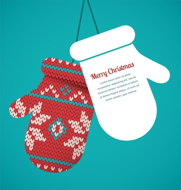ニットミトンクリスマスグリーティングカード Premiumベクター