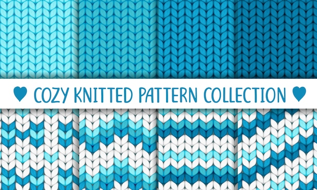 Knitted pattern collection blue and white, baby boy Premium Vector