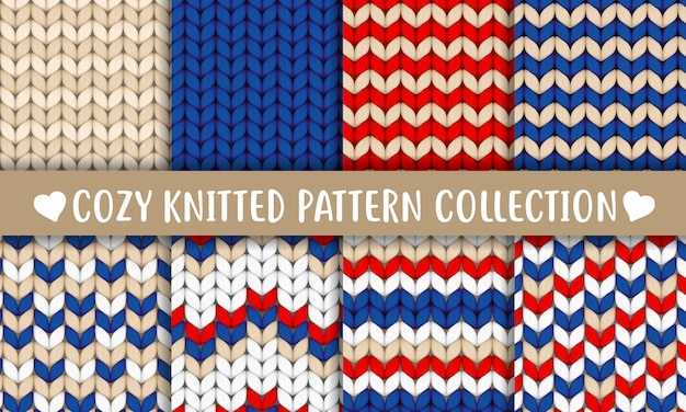 Knitted pattern collection red blue white beige Premium Vector