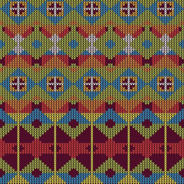 Knitted pattern texture design | Premium Vector