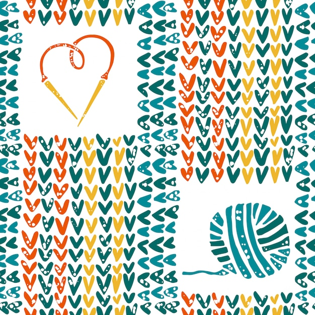Knitted pattern with needles and yarn Premium Vector