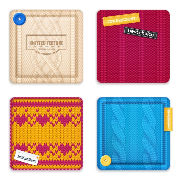 Knitted patterns realistic samples set Free Vector